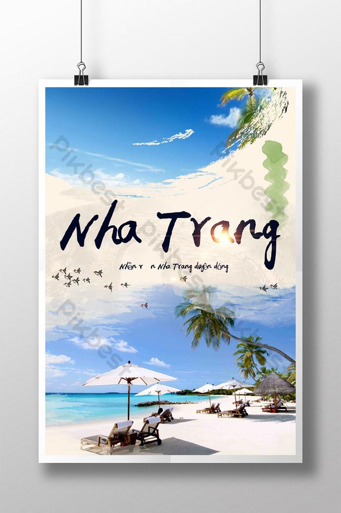 poster du lịch biển nha trang việt nam