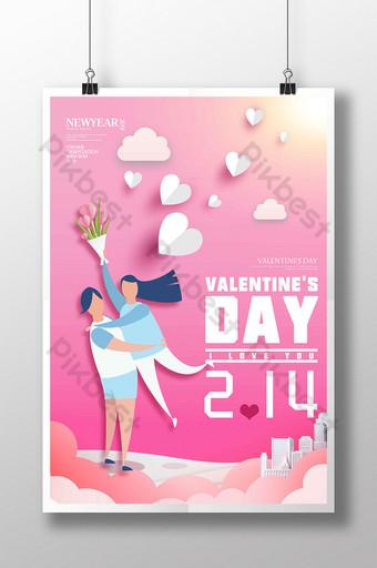 Affiche de la Saint-Valentin coupée en papier de couple rose Modèle PSD