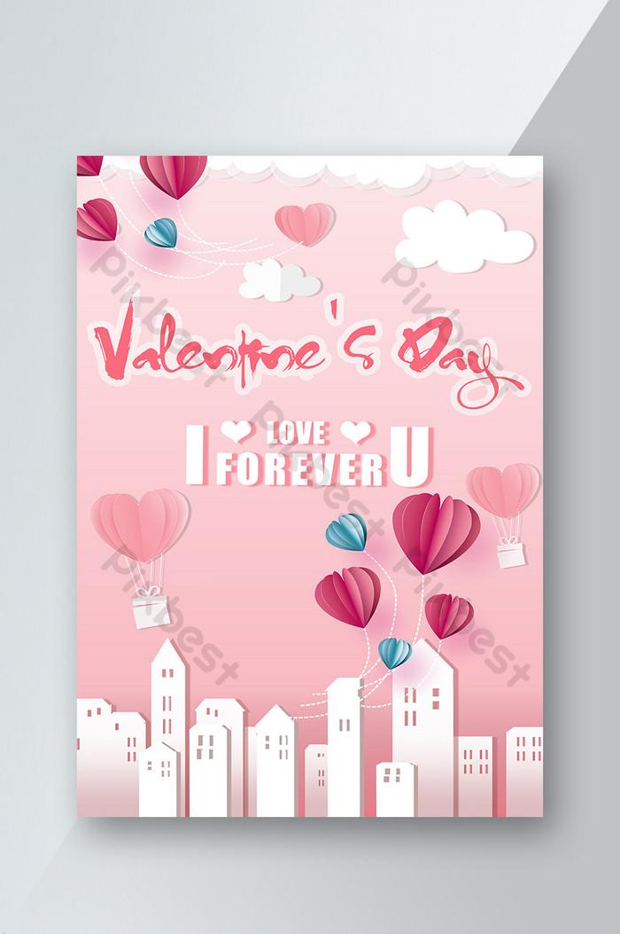 poster hari valentine balloon pink yang elegan