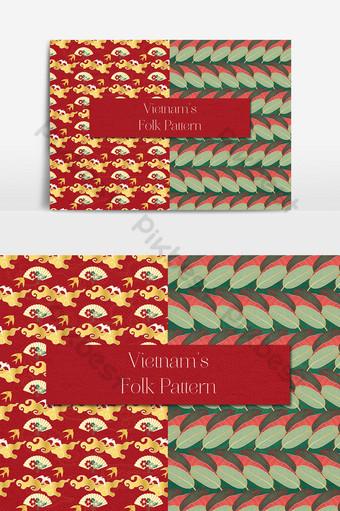 Ventilateur en papier du Vietnam et motif folklorique de feuilles d'arbre Éléments graphiques Modèle AI
