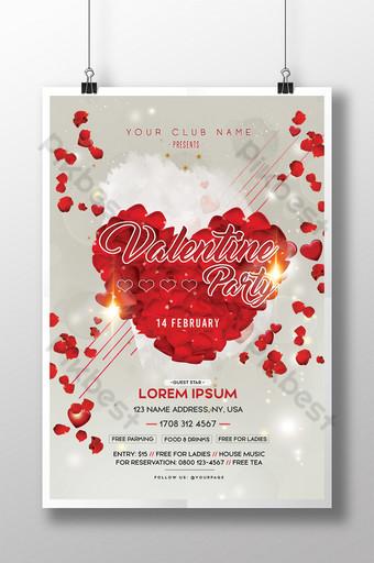 해피 발렌타인 데이 레드 로즈 하트 파티 포스터 템플릿 PSD