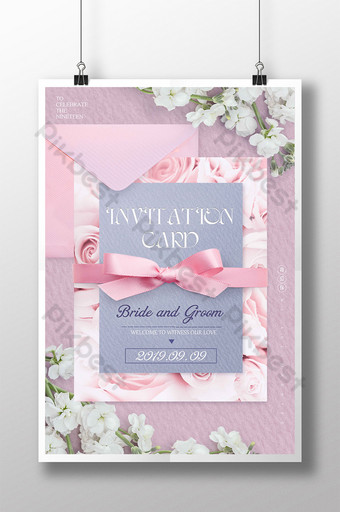poster undangan pernikahan busur amplop merah muda segar Templat PSD