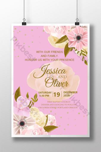 Carte de mariage de voeux de style floral avec fond rose Modèle AI