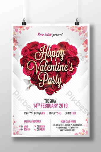 cartel de la invitación de la fiesta de San Valentín del corazón rosado encantador Modelo PSD
