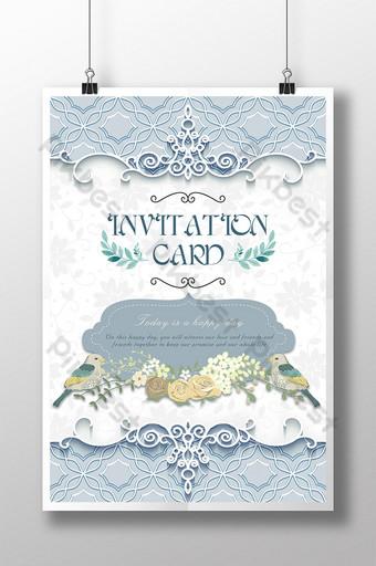 hoa văn tối giản vẽ tay minh họa lời mời đám cưới Bản mẫu PSD