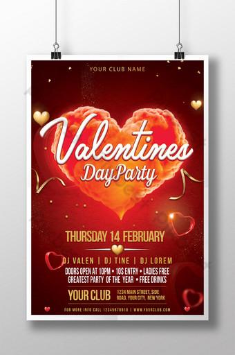 밝은 붉은 마음 발렌타인 데이 파티 초대장 포스터 템플릿 PSD