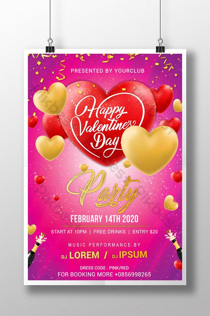 cartaz elegante da festa do dia dos namorados com balão em ouro e coração vermelho