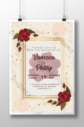 Carte d'invitation de mariage de style vintage avec de belles roses Modèle AI