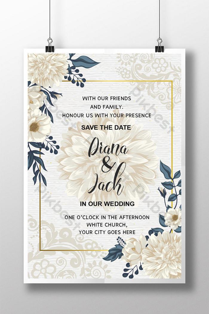 การ์ดแต่งงานสไตล์ดอกไม้สีขาวสวยงาม