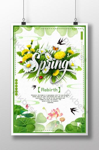أخضر منعش زهرة اللوتس السنونو الربيع موسم الصفصاف ملصق قالب PSD