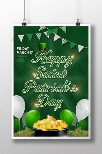 بالون البرسيم الأخضر يلمع عملة ذهبية عيد القديس باتريك ملصق الاحتفال قالب PSD