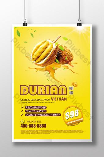 poster quảng cáo sầu riêng thái lan tươi sáng Bản mẫu PSD