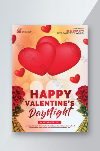 feliz dia de san valentin volantes con corazones y flores Modelo PSD