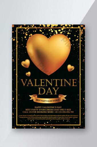 Flyer Saint Valentin doré noir Modèle PSD