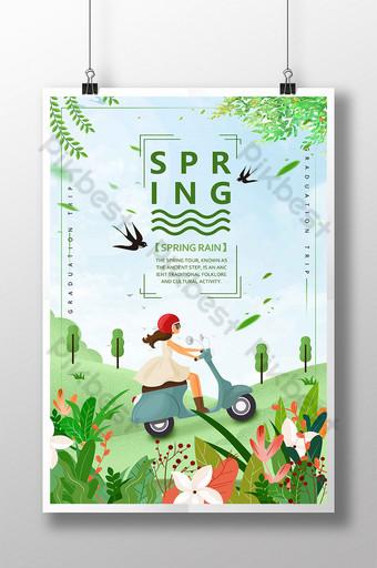 Zielona ilustracja jaskółka jeździć kwiat charakter wiosna deszcz małe świeże wierzby wiosna morze Szablon PSD