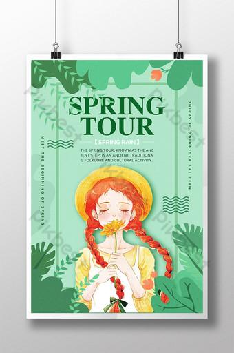 التوضيح الأخضر ابتلاع الطابع الربيع المطر صغير الصفصاف الطازجة موسم الربيع السفر ص قالب PSD