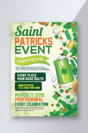 Modèles de flyers de la Saint-Patrick aquarelle Modèle PSD