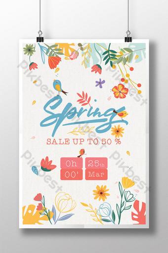 Fresh Style Spring Season Sale with Lovely Bird Template AI