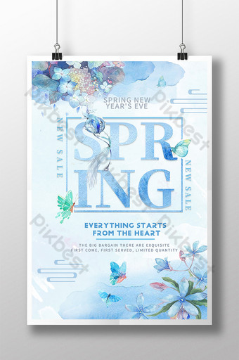 Plakat wiosna akwarela sztuki Szablon PSD