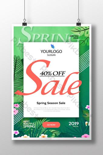 Green Spring Season Sale Poster Template PSD