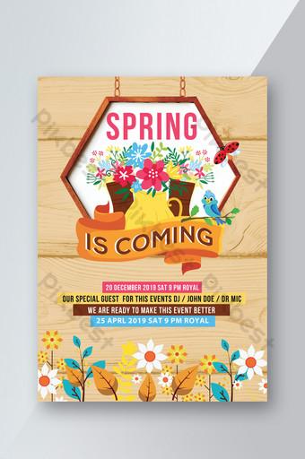 alat berkebun berwarna-warni menyambut templat pamflet musim semi psd Templat PSD