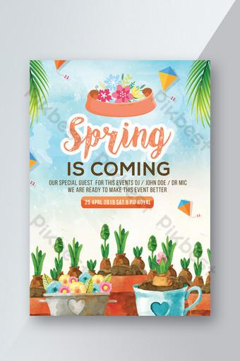 Modèle de Flyer de style de couleur de l'eau de source avec de belles plantes Modèle PSD