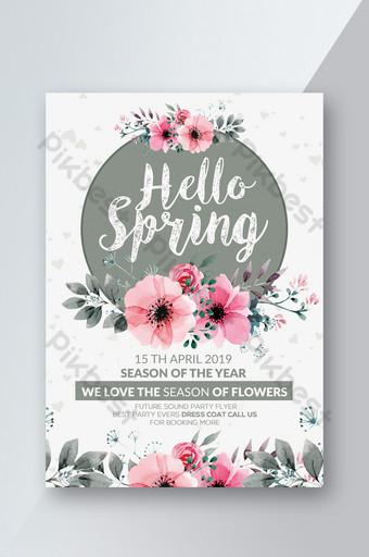 Aquarelle Style Hello Spring Flower World Flyer Modèle PSD