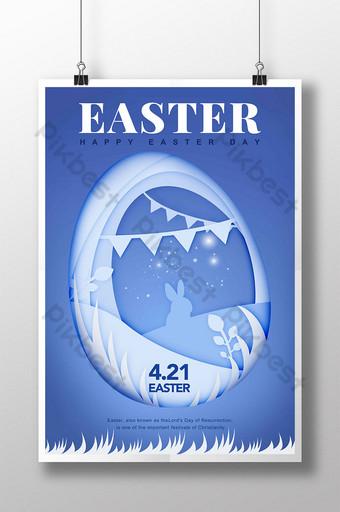 ilustración de corte de papel azul flores hierba conejito huevo encaje pascua cartel de vacaciones Modelo PSD