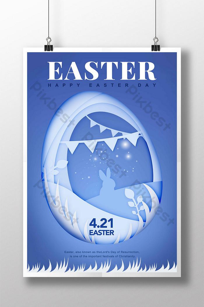 carta blu tagliata illustrazione fiori erba coniglietto uovo pizzo pasqua vacanza poster