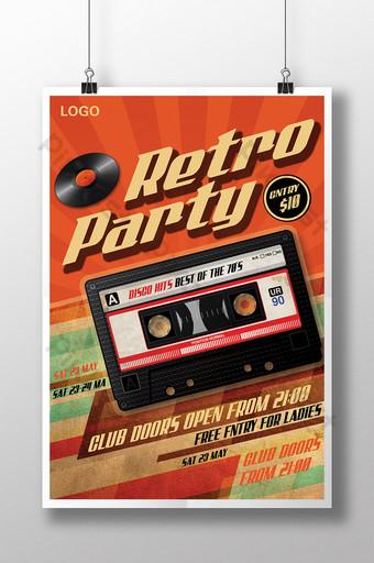 cartel de música retro Modelo PSD