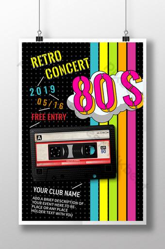 Cartel retro del evento de la música del arco iris de la cinta retro de los 80 Modelo PSD