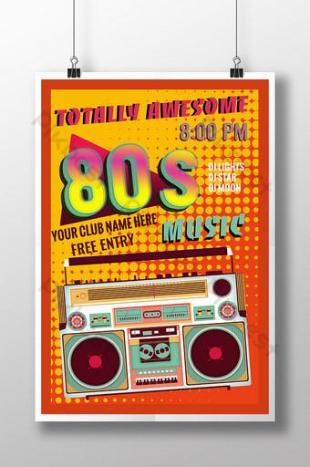 80 s retro radio pop color degradado palabra música evento cartel Modelo PSD