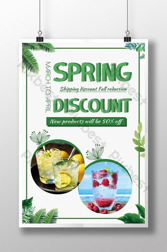 Affiche d'événement de remise de printemps de boisson rafraîchissante verte Modèle PSD