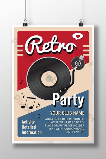 Cartel de la fiesta de música retro del evento musical del tocadiscos de los 80 Modelo PSD