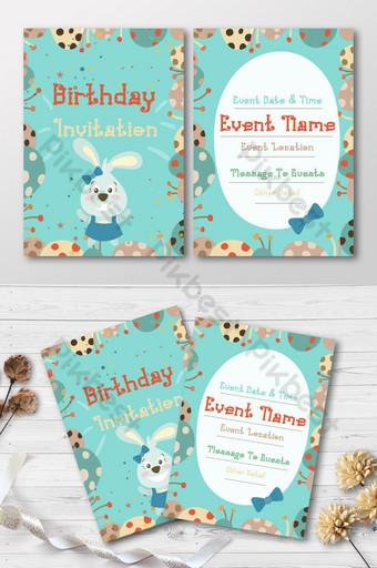 من ناحية رسم الأطفال لطيف الحيوان بطاقة ورقة دعوة عيد ميلاد قالب AI