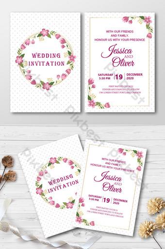 cartel de invitación de boda de estilo floral púrpura rosa Modelo AI