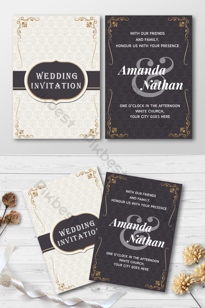 templat kad jemputan perkahwinan gaya emas hitam