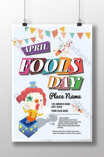 selamat hari april bodoh hari badut lucu bunting poster sederhana Templat AI
