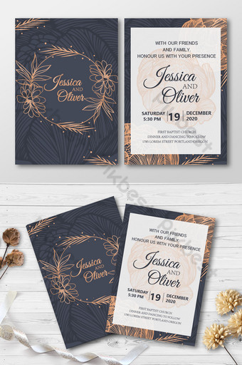 Carte d'invitation de mariage de style or noir avec anneau de fleur Modèle AI