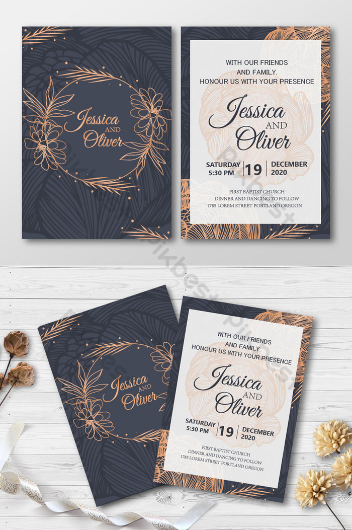 kad jemputan perkahwinan gaya emas hitam dengan cincin bunga