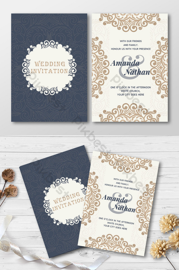 Traditional Flower Totem Wedding Invitation Card Ai Free Download Pikbest