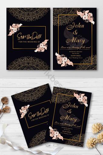 Maquette de carte de mariage de style doré de luxe Modèle AI