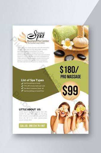 Modèle de Flyer de spa de beauté avec couleur verte Modèle PSD
