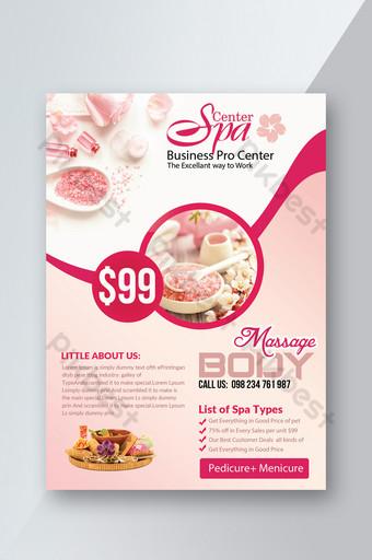Modèles de flyers de spa et de beauté roses Modèle PSD