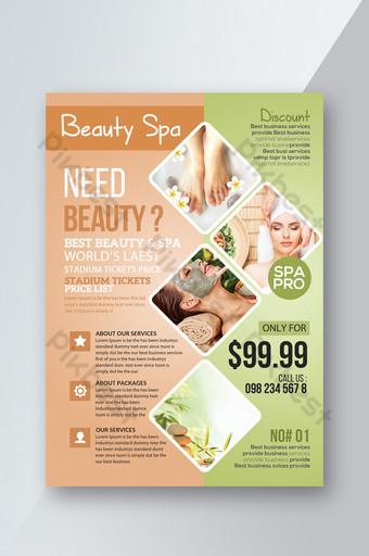 Modelli di volantini per Spa Beauty Care Center Sagoma PSD