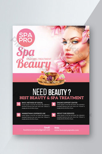 Modèle de Flyer de promo Pink Spa Club avec style dégradé Modèle PSD