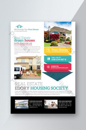 Modèles de flyers de style graphique d'informations immobilières Modèle PSD