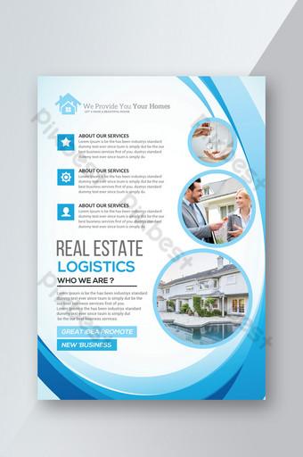 templat pamflet real estat dengan vektor biru Templat PSD