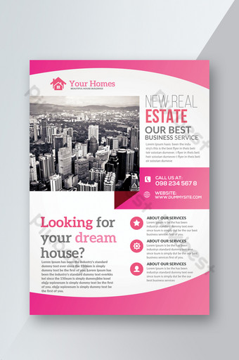 Templat pamflet real estat dengan tema berwarna merah muda Templat PSD