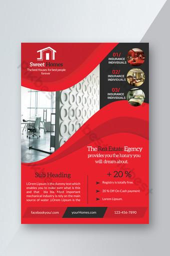 plantillas de folletos inmobiliarios de color rojo Modelo PSD